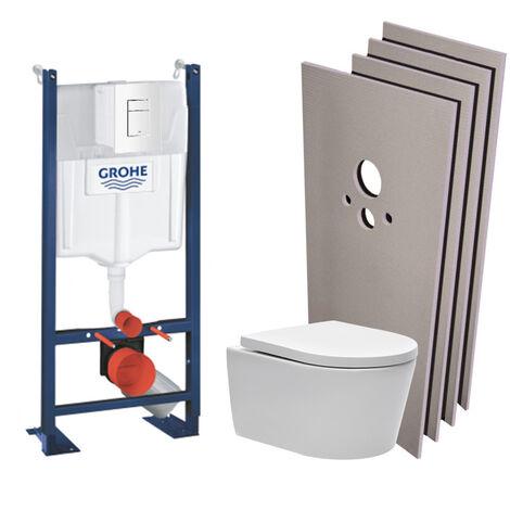 Grohe Pack WC Bâti autoportant + Cuvette SAT sans bride, fixations cachées + Plaque blanche + Set habillage (ProjectSATrimless-4-sabo)