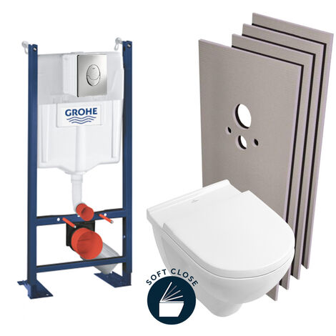 Grohe Pack WC Bâti autoportant + Cuvette Villeroy & Boch O.novo + Abattant softclose + Set d'habillage (ProjectO.Novo-2-sabo)