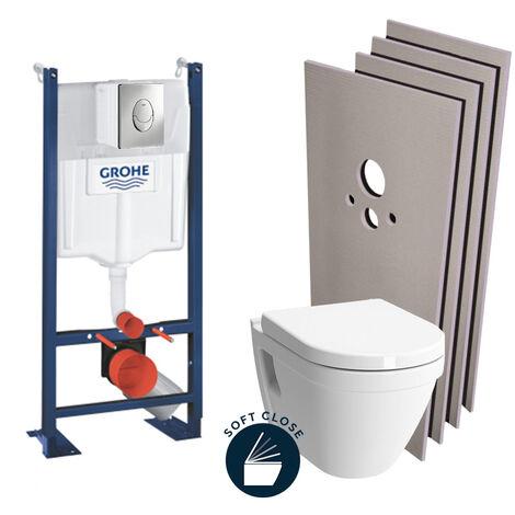 Grohe Pack WC Bâti Autoportant + Cuvette Vitra S50 + Abattant soft close + Plaque chrome + Set habillage (ProjectS50softclose-2-sabo)