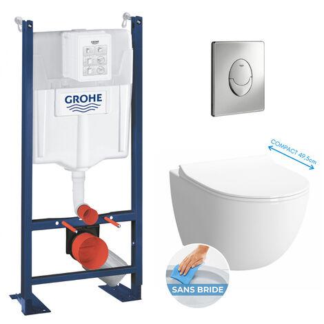 Grohe Pack WC Bâti autoportant + Cuvette Vitra Sento compacte sans bride + Plaque chrome (ProjectSentoRimlessCompact-2)