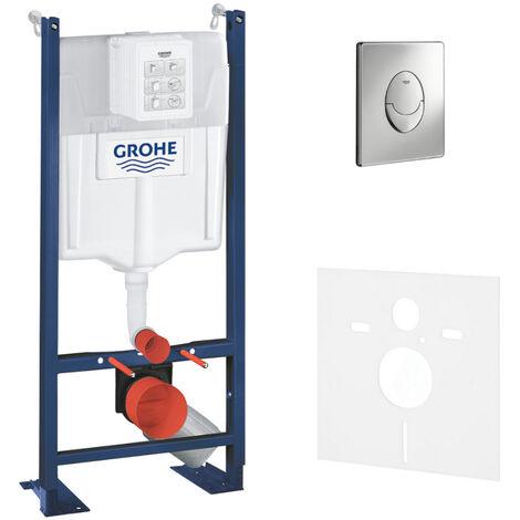 """main image of """"Grohe Pack WC Bâti autoportant Rapid SL avec Plaque Skate Air chromée et Set d'isolation phonique (39145000-2)"""""""