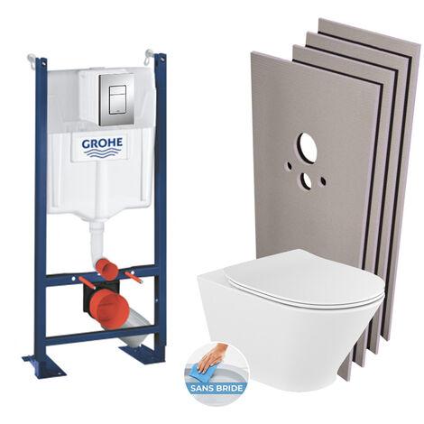 Grohe Pack WC Bâti autoportant + WC Roca The Gap sans bride fixations invisibles + Plaque chrome + Set habillage (HProjectTheGap-1)