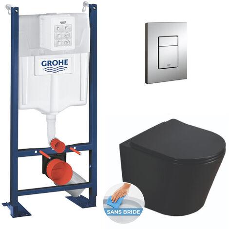 Grohe Pack WC Bâti autoportant + WC Swiss Aqua Technologies Infinitio noir sans bride + Plaque chrome (ProjectBlackInfinitio-1)