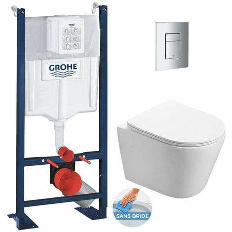 Grohe Pack WC Bâti autoportant + WC Swiss Aqua Technologies Infinitio sans bride + Plaque chrome (ProjectInfinitio-1)