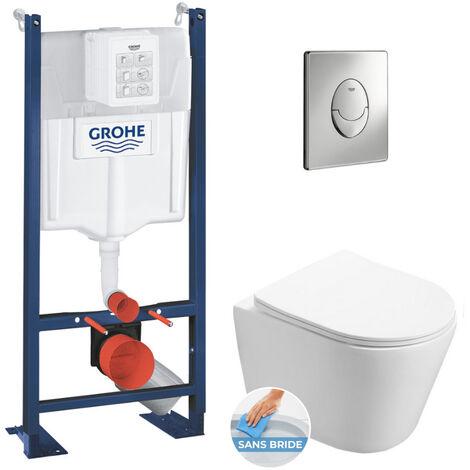 Grohe Pack WC Bâti autoportant + WC Swiss Aqua Technologies Infinitio sans bride + Plaque chrome (ProjectInfinitio-2)