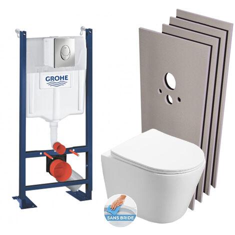 Grohe Pack WC Bâti autoportant + WC Swiss Aqua Technologies Infinitio sans bride + Plaque + Set habillage (ProjectInfinitio-2-sabo)