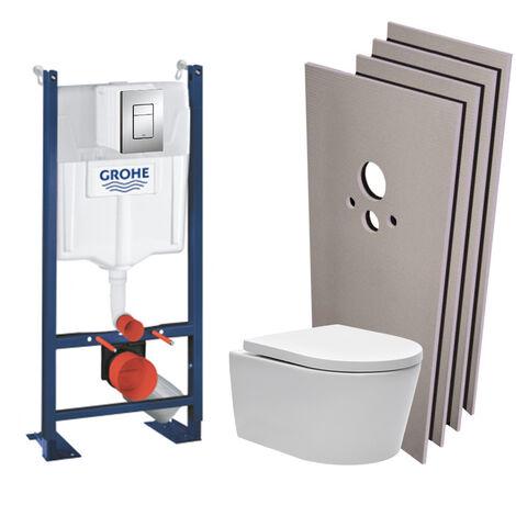 Grohe Pack WC bâti autoportant + WC Swiss Aqua Technologies sans bride + Plaque chrome + Set habillage (ProjectSATrimless-1-sabo)