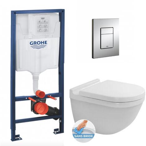 Grohe Pack WC Bâti + Cuvette Duravit Starck 3 sans bride fixations invisibles + Abattant softclose + Plaque Chrome (RapidSLStarck3-1)
