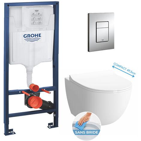 Grohe Pack WC Bâti + cuvette Sento RIM-EX (sans bride) compacte + plaque de commande chrome (GROHE-SentoRimlessCOMPACT)