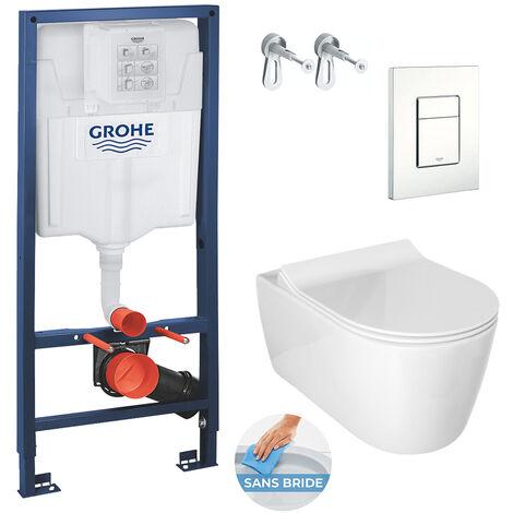 Grohe Pack WC Bâti Rapid SL + Cuvette Alfa sans bride avec fixations invisibles + Abattant softclose (RapidSlAlfaRimless-4)