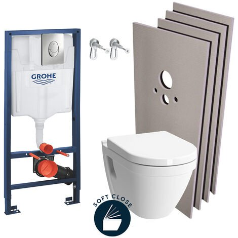 Grohe Pack WC Bâti-support Rapid SL + WC Vitra S50 + Abattant softclose + Plaque chrome + Set habillage (Grohe-S50Softclose-2-sabo)