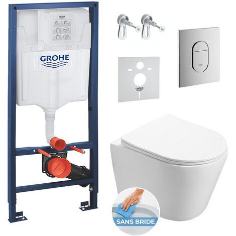 Grohe Pack WC Bâti-support + WC SAT Infinitio sans bride fixations invisibles + Plaque + Panneau d'isolation phonique (ArenaInfinitio)