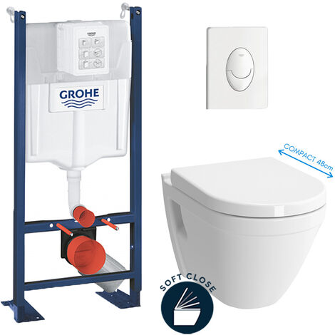 Grohe Pack WC Cuvette Compacte + Rapid SL autoportant NF + plaque blanche (ProjectS50COMPACT-3)