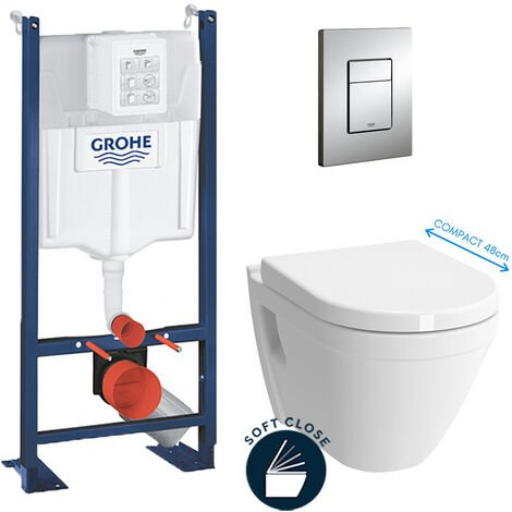 Grohe Pack WC Cuvette Compacte + Rapid SL autoportant NF + plaque chrome (ProjectS50COMPACT-1)
