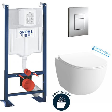 Grohe Pack WC Cuvette Sento Compacte + Rapid SL autoportant NF + plaque chrome (ProjectSentoCOMPACT-1)