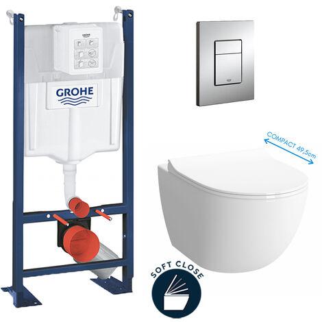 Grohe Pack WC Cuvette Sento Compacte + Rapid SL autoportant NF + plaque chrome (ProjectSentoCOMPACT-1)