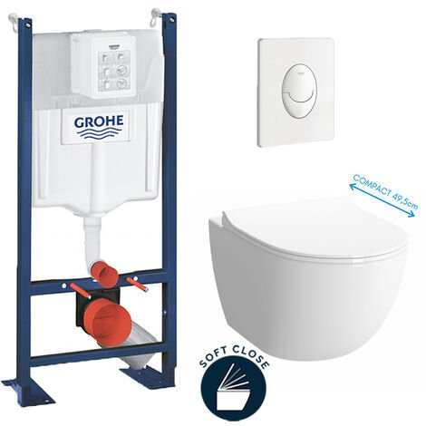 Grohe Pack WC Cuvette Sento Compacte + Rapid SL autoportant NF + plaque Skate Air blanche (ProjectSentoCOMPACT-3)