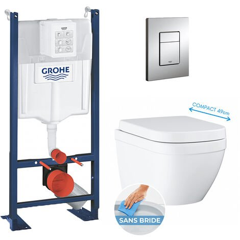 Grohe Pack WC Euro Ceramic Cuvette Compact Triple Vortex + Rapid SL autoportant NF + plaque chrome (ProjectEuroCompact-1)