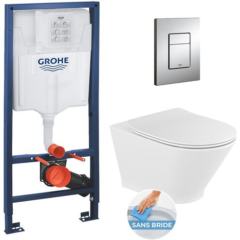 Grohe Pack WC Grohe Rapid SL + cuvette sans bride Roca The Gap Round + abattant softclose + plaque Skate Cosmopolitan chrome