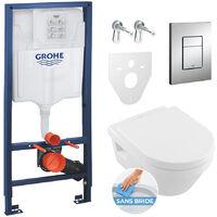 Grohe Pack WC Grohe Rapid SL + Cuvette Villeroy & Boch + Plaque de commande Grohe Skate Chrome (38528SET-KB)