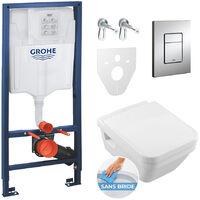 Grohe Pack WC Grohe Rapid SL + Cuvette Villeroy & Boch + Plaque de commande Grohe Skate Chrome (38528SET1-KB)