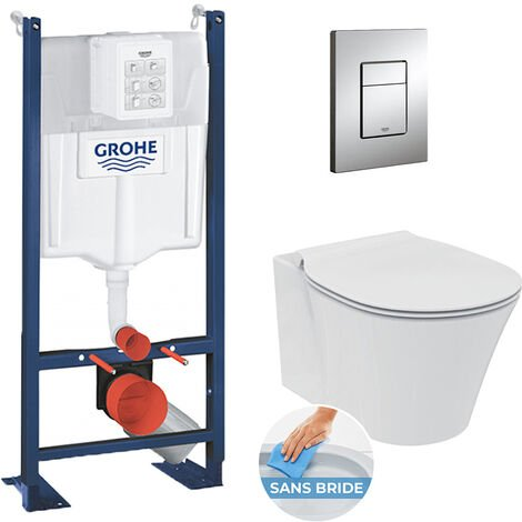 Grohe Pack WC Ideal Standard Connect Air sans bride + ensemble Rapid SL autoportant NF + plaque chrome (ProjectConnectAir-1)