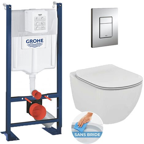 Grohe Pack WC Ideal Standard Tesi Aquablade sans bride + Rapid SL autoportant NF + plaque Skate Cosmo chrome (ProjectTesi-1)