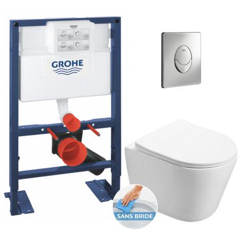 Grohe Pack WC Rapid SL 82cm autoportant + WC Swiss Aqua Technologies Infinitio sans bride + Plaque chrome (RapidSL82-Infinitio-2)