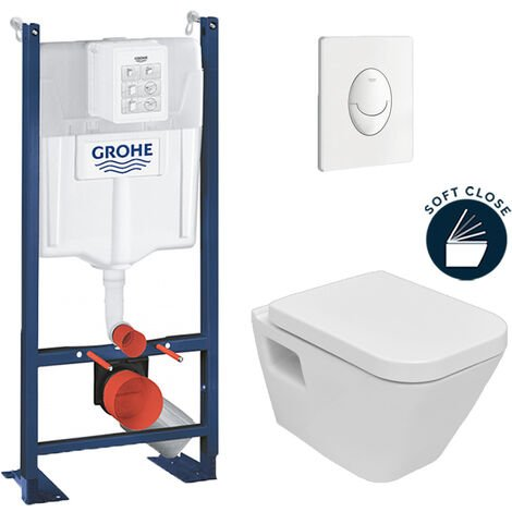 Grohe Pack WC Rapid SL autoportant + cuvette DG10 + plaque Skate Air blanche (ProjectDG10-3)