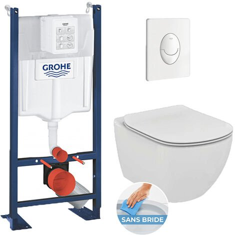 Grohe Pack WC Rapid SL autoportant + cuvette Ideal Standard T354601 + plaque Skate Air blanche (ProjectTesi-3)
