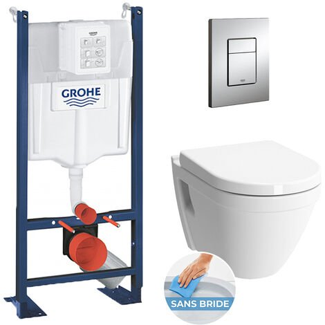 Grohe Pack WC Rapid SL autoportant + cuvette S50 sans bride + plaque Skate Cosmo chrome (ProjectS50-1)