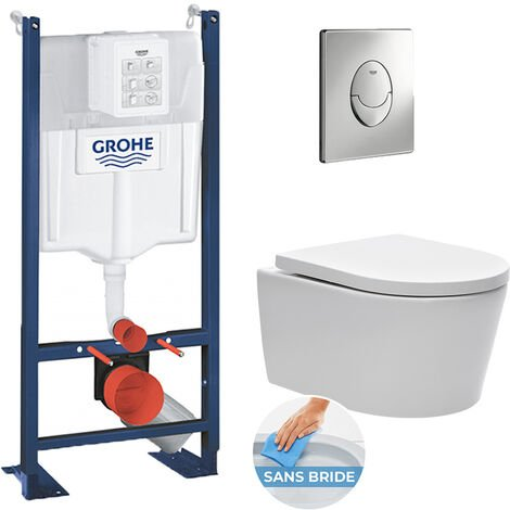 Grohe Pack WC Rapid SL autoportant + cuvette sans bride SAT, fixations cachées + plaque Skate Air chrome (ProjectSATrimless-2)