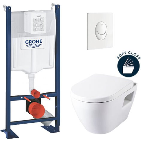 Grohe Pack WC Rapid SL autoportant + cuvette SM10 + plaque Skate Air blanche (ProjectSM10-3)