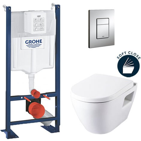Grohe Pack WC Rapid SL autoportant + cuvette SM10 + plaque Skate Cosmo chrome