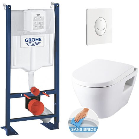 Grohe Pack WC Rapid SL autoportant + cuvette SM26 sans bride + plaque Skate Air blanche (ProjectSM26-3)
