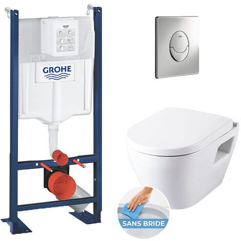 Grohe Pack WC Rapid SL autoportant + cuvette SM26 sans bride + plaque Skate Air chrome (ProjectSM26-2)