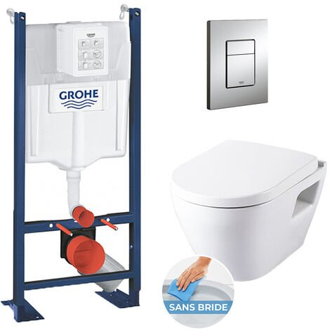 Grohe Pack WC Rapid SL autoportant + cuvette SM26 sans bride + plaque Skate Cosmo chrome (ProjectSM26-1)