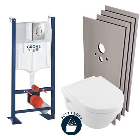 Grohe Pack WC Rapid SL autoportant + Cuvette Villeroy&Boch Architectura + Plaque chrome + Set habillage (ProjectArchitectura-2-sabo)