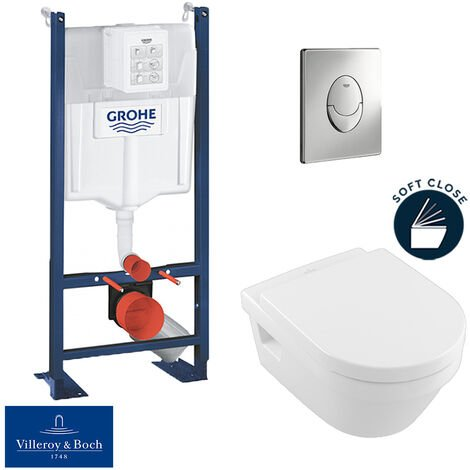Grohe Pack WC Rapid SL autoportant + cuvette Villeroy&Boch Architectura + plaque Skate Air chrome