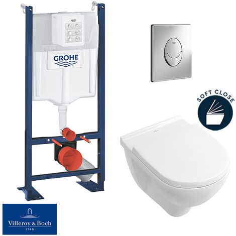 Grohe Pack WC Rapid SL autoportant + cuvette Villeroy&Boch O.Novo + plaque Skate Air chrome (ProjectO.Novo-2)
