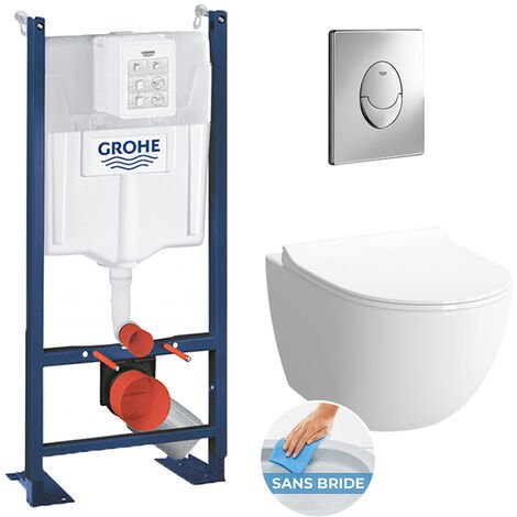 Grohe Pack WC Rapid SL autoportant + cuvette Vitra Sento sans bride + plaque Skate Air chrome (ProjectSento-2)