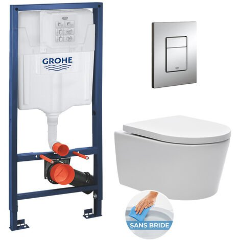 Grohe Pack WC Rapid SL + cuvette sans bride SAT, fixations cachées + plaque Skate chrome (RapidSL-SATrimless)