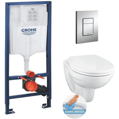 Grohe Pack WC Rapid SL + cuvette suspendue sans bride Porcher + plaque Grohe Skate Cosmopolitan chrome (RapidSL-PorcherRimless)