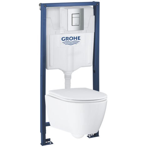 Grohe Pack WC Rapid SL GROHE + Cuvette Grohe Essence RIMLESS + Plaque de commande Grohe Skate Chrome (GROHE-ESSENCE)
