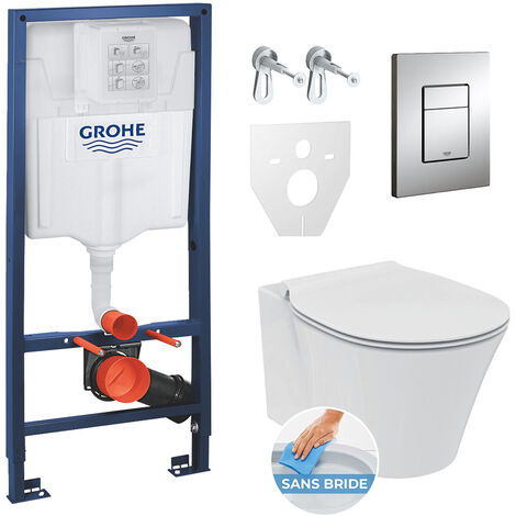 Grohe Pack WC Rapid SL GROHE + Toilet bowl Ideal Standard Tesi Aquablade + flush plate Grohe Skate Chrome
