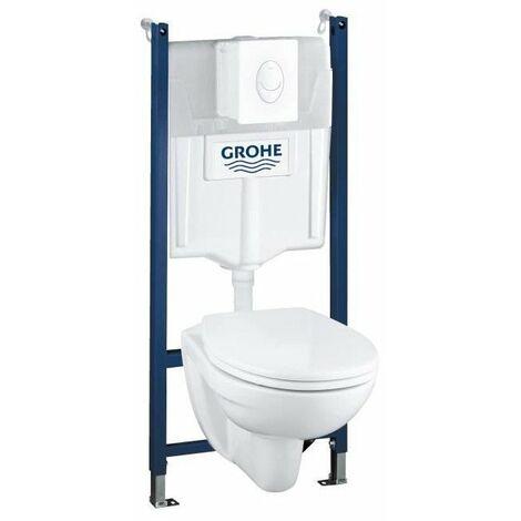 GROHE Pack WC suspendu Solido Compact Set 4 en 1 avec Cuvette - 39117000