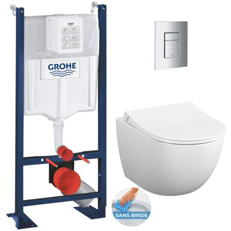 Grohe Pack WC Vitra Sento sans bride + Rapid SL autoportant NF + plaque Skate Cosmo chrome (ProjectSento-1)