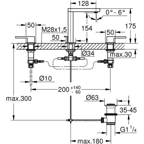 GROHE Plus mezclador de lavabo de 3 orificios, DN 15, con desagüe automático, cromado - 20301003