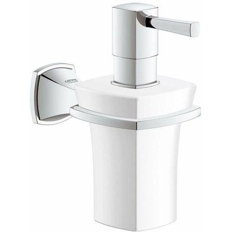 Grohe Porte-savon Grandera avec distributeur de savon céramique, Coloris: Chrome / Or - 40627IG0