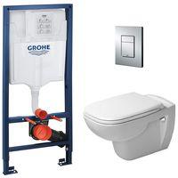 Grohe rack-mount toilet pack + DURAVIT Rimless D-Code bowl-mount + Skate Cosmopolitan trigger plate (38772001)